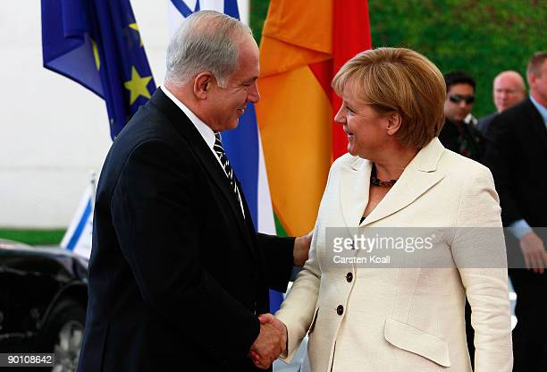 German Chancellor Angela Merkel greets Israeli Prime Minister Benjamin Netanyahu upon Netanyahu's arrival at Chancellery on August 27 2009 in Berlin...