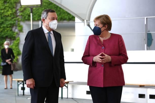 DEU: Mario Draghi Meets With Angela Merkel In Berlin