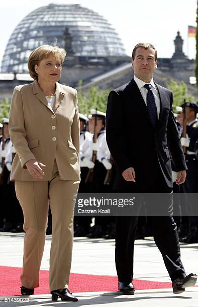 German Chancellor Angela Merkel greets Russian President Dmitry Medvedev upon his arrival at the Chancellery on June 5 2008 in Berlin Germany It is...