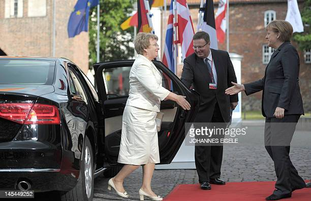 German chancellor Angela Merkel greets the Baltic Sea Parliamentary Conference chairman Valentina Pivnenko at the start of a Baltic Sea States...