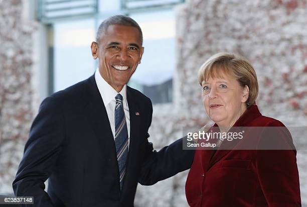 German Chancellor Angela Merkel greets US President Barack Obama upon his arrival at the Chancellery on November 17 2016 in Berlin Germany President...