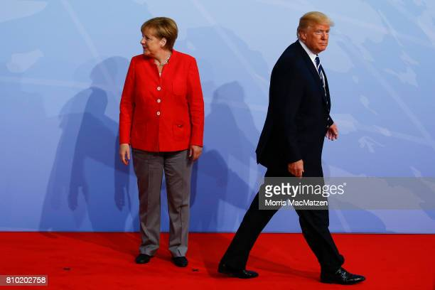 German Chancellor Angela Merkel greets U.S. President Donald Trump upon his arrival for the first day of the G20 economic summit on July 7, 2017 in...