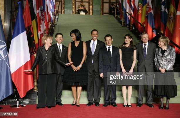 German Chancellor Angela Merkel her husband Joachim Sauer US First Lady Michelle Obama US President Barack Obama French President Nicolas Sarkozy his...