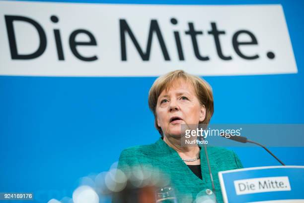 German Chancellor Angela Merkel holds a news conference to announce the names of the possible future Ministers at KonradAdenauerHaus in Berlin...