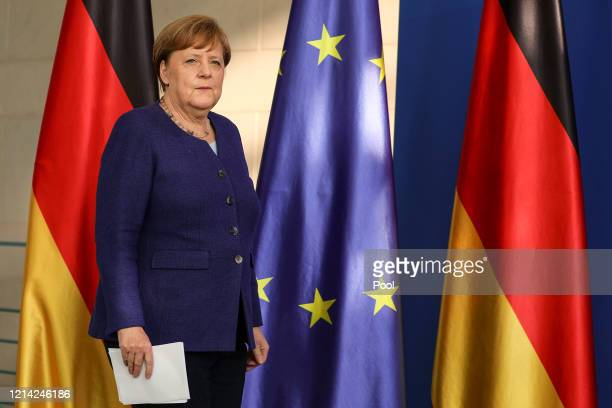 German Chancellor Angela Merkel holds a press conference at the Chancellery on May 20, 2020 in Berlin, Germany. German Chancellor Angela Merkel...