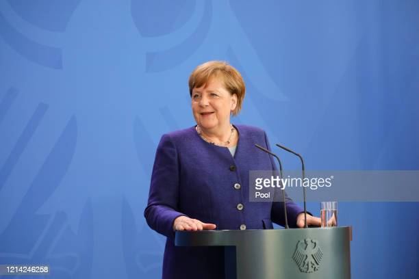 German Chancellor Angela Merkel holds a press conference at the Chancellery on May 20 2020 in Berlin Germany German Chancellor Angela Merkel informed...