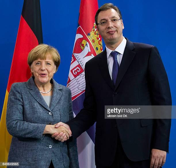 German Chancellor Angela Merkel invites the Serbian Prime Minister Aleksandar Vucic at short notice on September 7 2015 at the Chancellery Berlin...