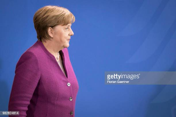 German Chancellor Angela Merkel is pictured after a press conference on March 16 2018 in Berlin Germany