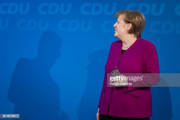 German Chancellor Angela Merkel is pictured at the 30th German Christian Democrats party congress on February 26 2018 in Berlin Germany The CDU is...