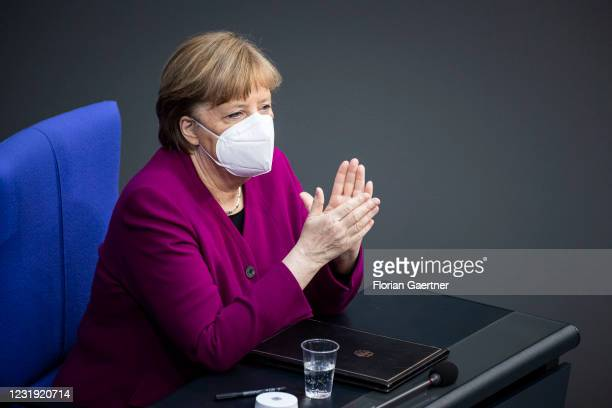 German Chancellor Angela Merkel is pictured before her government statement at the German Bundestag on March 25, 2021 in Berlin, Germany. Merkel...