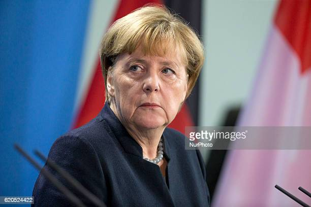 German Chancellor Angela Merkel is pictured during a news conference held with Federal Swiss President Johann SchneiderAmmann at the Chancellery in...