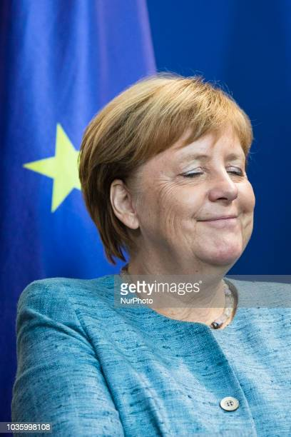 German Chancellor Angela Merkel is pictured during a press conference at the Chancellery in Berlin Germany on September 19 2018