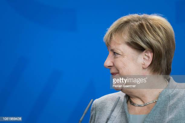 German Chancellor Angela Merkel is pictured during a press conference with Marjan Sarec Prime Minister of Slovenia at the Federal Chancellery on...