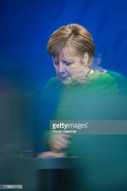 German Chancellor Angela Merkel is pictured during a press conference on February 21 2019 in Berlin Germany