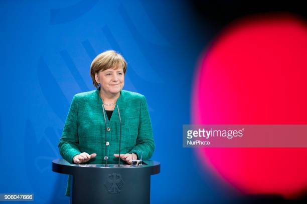 German Chancellor Angela Merkel is pictured during a press conference held with Austrian Chancellor Sebastian Kurz at the Chancellery in Berlin...
