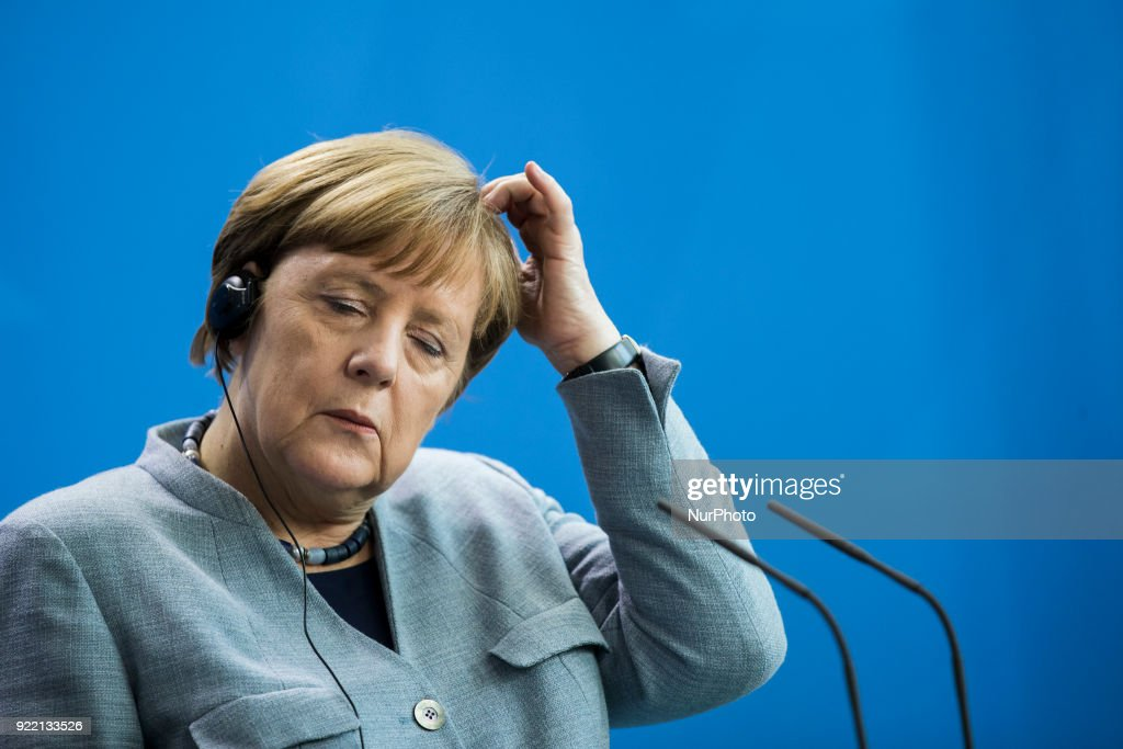 German Chancellor Angela Merkel is pictured during a press conference held with Prime Minister of Macedonia Zoran Zaev (not in the picture) at the Chancellery in Berlin, Germany on February 21, 2018.
