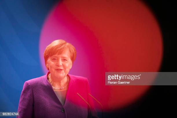German Chancellor Angela Merkel is pictured during a press conference on March 16 2018 in Berlin Germany