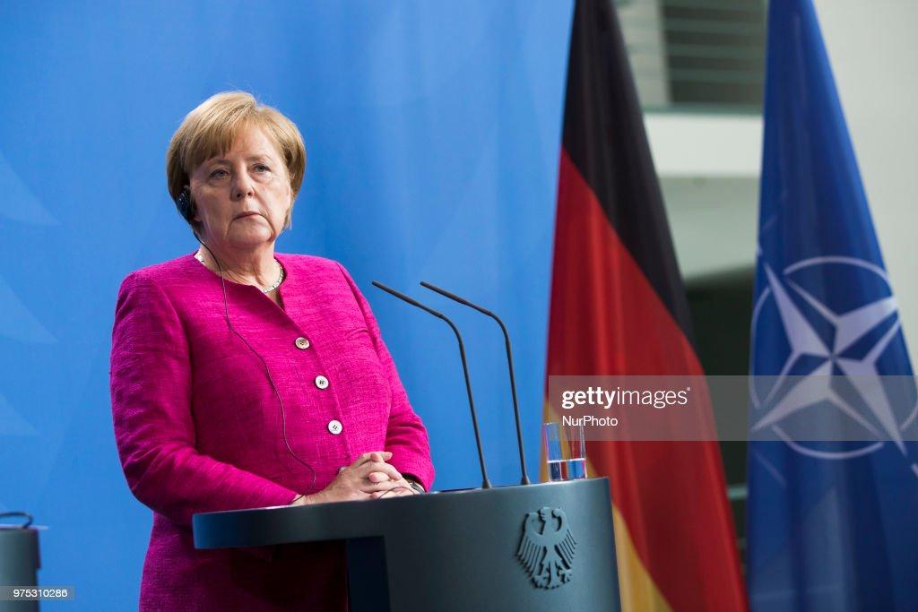 Angela Merkel Meets NATO Secretary General Stoltenberg : News Photo