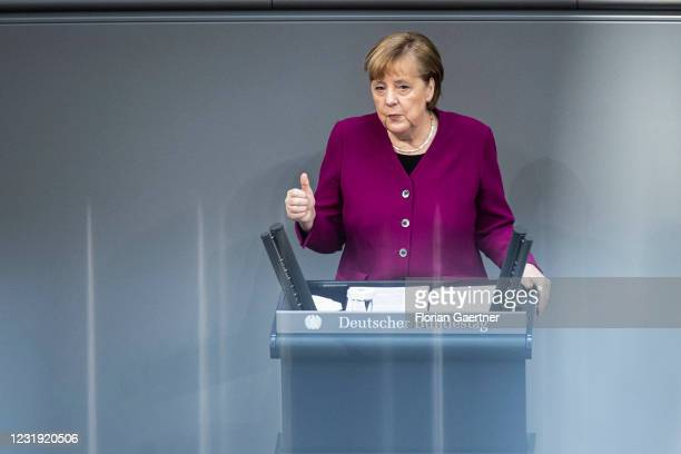 German Chancellor Angela Merkel is pictured during her government statement at the German Bundestag on March 25, 2021 in Berlin, Germany. Merkel...