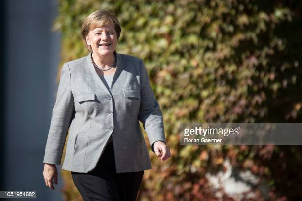 German Chancellor Angela Merkel is pictured during the meeting with Marjan Sarec Prime Minister of Slovenia at the Federal Chancellery on October 12...
