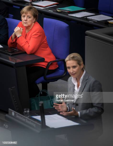 German Chancellor Angela Merkel is pictured during the speech of Alice Weidel Parliamentary group coleader of the rightwing Alternative for Germany...