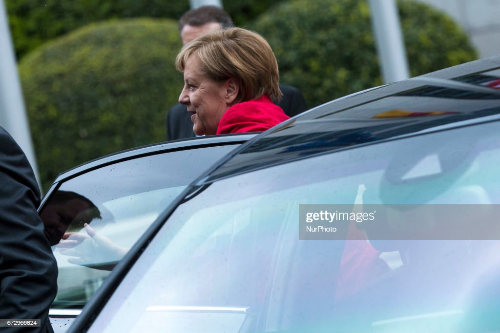 German Chancellor Angela Merkel is pictured upon her arrival at the Woman 20 Summit in Berlin, Germany on April 25, 2017. The event, which is connected to the G20 under the German leadership is dedicated to Women's Economic Empowerment and Entrepreneurship.