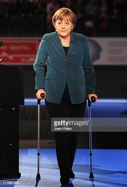 German Chancellor Angela Merkel is seen during the opening ceremony prior to the European Championships Artistic Gymnastics Men's All-Around Final at...