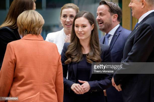 German Chancellor Angela Merkel is talking with the Belgium Prime Minister Sophie Wilmes the Danish Prime Minister Mette Frederiksen the Finnish...