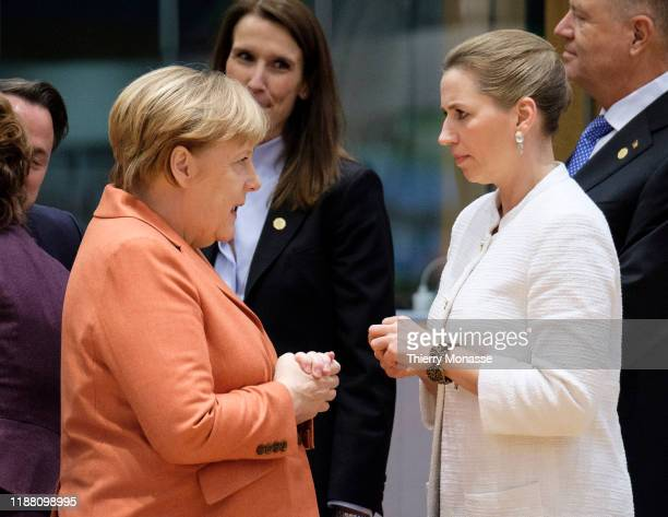 German Chancellor Angela Merkel is talking with the Belgium Prime Minister Sophie Wilmes the Danish Prime Minister Mette Frederiksen and the...