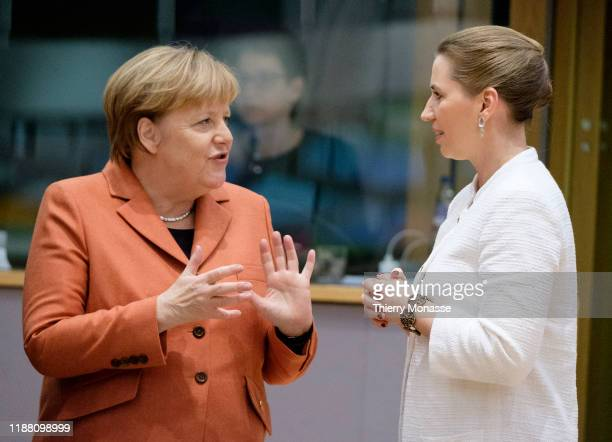 German Chancellor Angela Merkel is talking with the Danish Prime Minister Mette Frederiksen on the first of a twoday summit of European Union leaders...