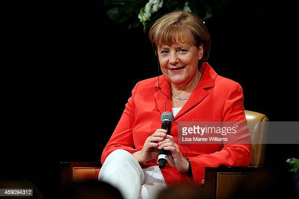 German Chancellor Angela Merkel is the 2014 guest speaker for the Lowy Institute for International Policy on November 17 2014 in Sydney Australia...