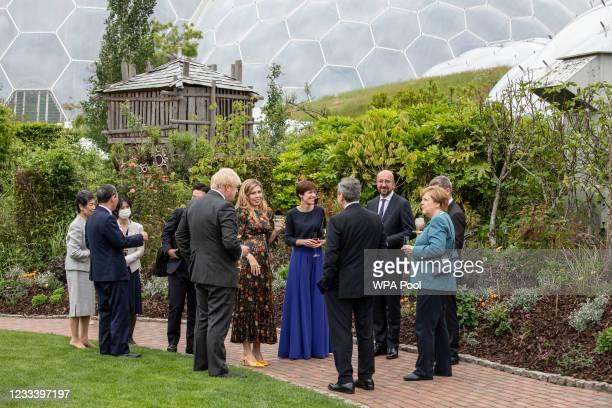 German Chancellor Angela Merkel, Japanese Prime Minister Yoshihide Suga, British Prime Minister Boris Johnson, wife Carrie Johnson, Italian Prime...