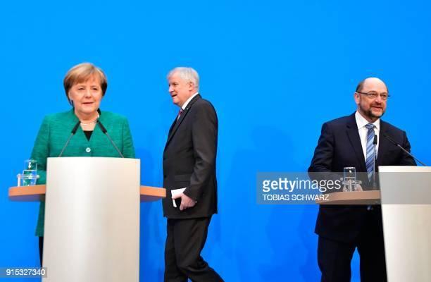 German Chancellor Angela Merkel leader of the conservative Christian Democratic Union Horst Seehofer leader of the conservative Christian Social...