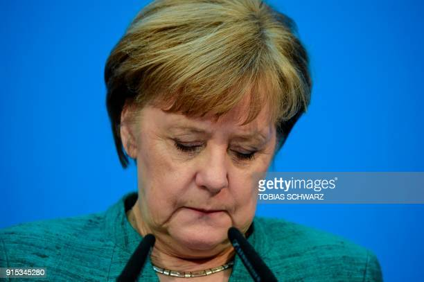German Chancellor Angela Merkel leader of the conservative Christian Democratic Union gives a press conference in Berlin on February 7 after...