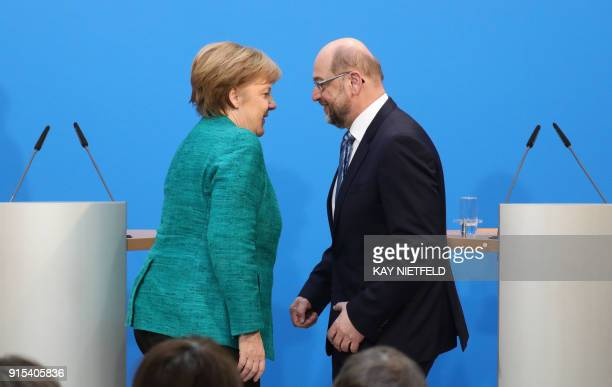 German Chancellor Angela Merkel leader of the conservative Christian Democratic Union and Martin Schulz leader of the social democratic SPD party are...