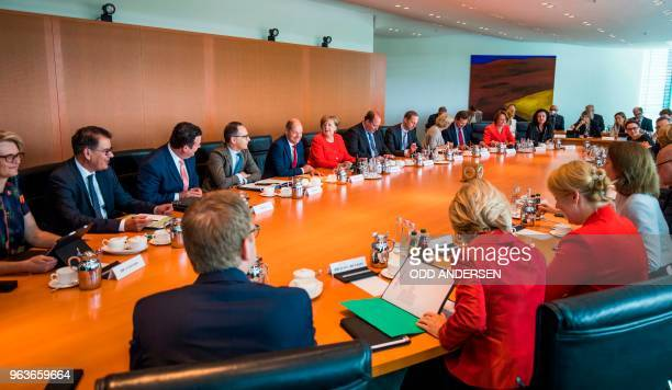 German Chancellor Angela Merkel leads the weekly cabinet meeting at the chancellery in Berlin on May 30 2018