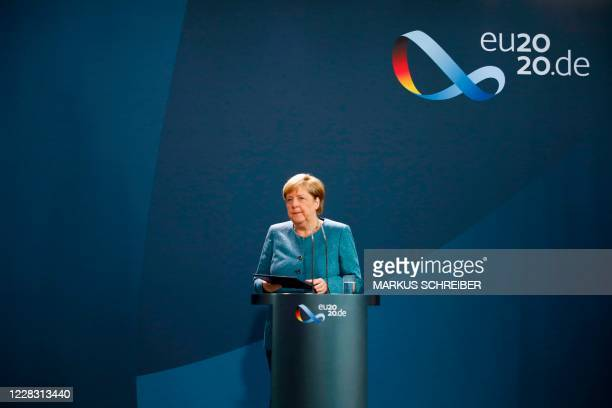German Chancellor Angela Merkel leaves at the end of her statement on September 2, 2020 at the Chancellery in Berlin after tests carried out by the...
