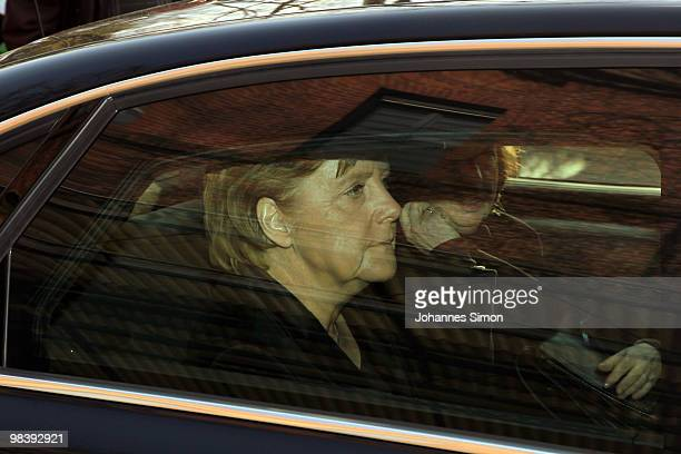 German chancellor Angela Merkel leaves the funeral service for Wolfgang Wagner at festival opera house on April 11 2010 in Bayreuth Germany Wolfgang...