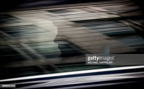 German Chancellor Angela Merkel leaves the German public television ZDF in her car after recording the traditional summer interview on July 1 2018 in...