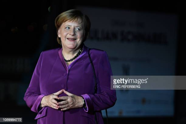 German Chancellor Angela Merkel looks on as she arrives at the Musee d'Orsay in Paris on November 10, 2018 to attend a state diner and a visit of the...