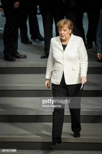 German Chancellor Angela Merkel looks on before her reelection as the chancellor on March 14 2018 in Berlin Germany 55 month after the election the...