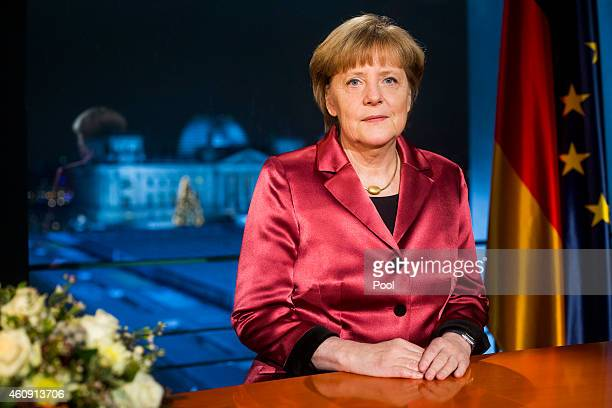 German Chancellor Angela Merkel makes her New Year's speech on December 30, 2014 in Berlin, Germany.