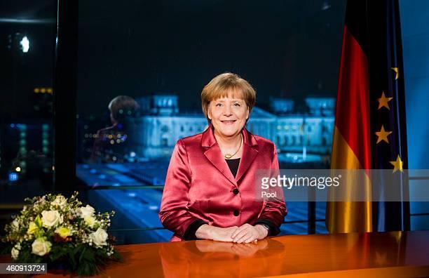 German Chancellor Angela Merkel makes her New Year's speech on December 30 2014 in Berlin Germany