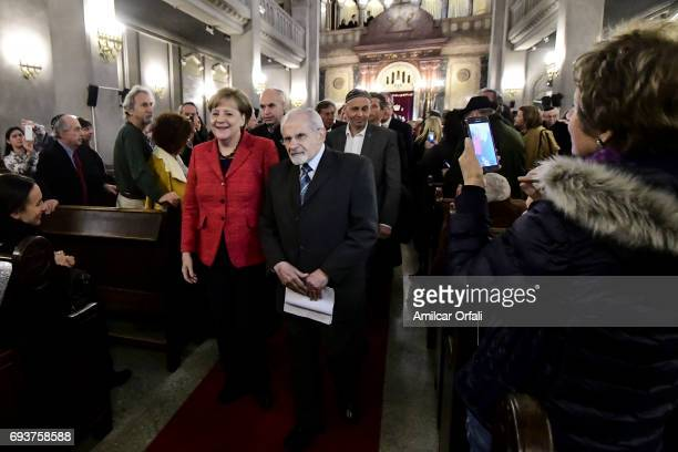 German Chancellor Angela Merkel Mayor of Buenos Aires Horacio Rodriguez Larreta Rabbi Simon Moguilevsky and Environment Minister Rabbi Sergio Bergman...