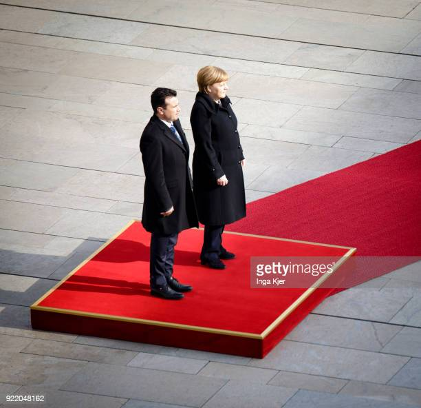 German Chancellor Angela Merkel meets Macedonian Prime Minister Zoran Zaev and greets him with military honours on February 21 2018 in Berlin Germany