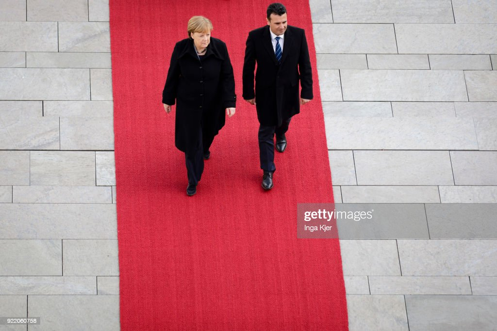 German Chancellor Angela Merkel meets Macedonian Prime Minister Zoran Zaev and greets him with military honours, on February 21, 2018 in Berlin, Germany.