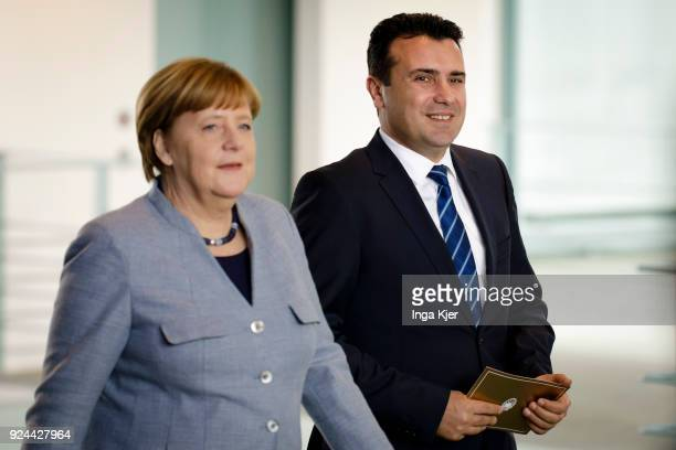 German Chancellor Angela Merkel meets Macedonian Prime Minister Zoran Zaev at the chancellery on February 21 2018 in Berlin Germany