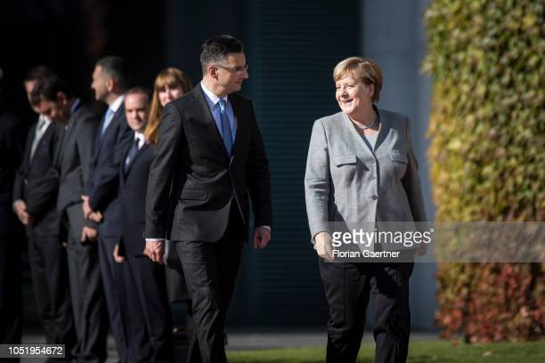 German Chancellor Angela Merkel meets Marjan Sarec Prime Minister of Slovenia at the Federal Chancellery on October 12 2018 in Berlin Germany