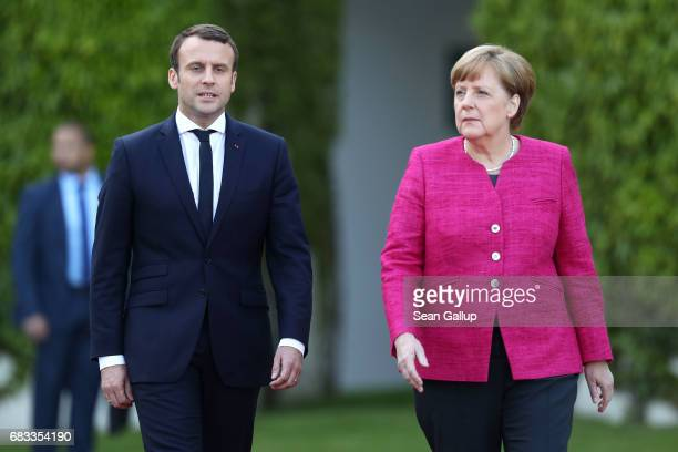German Chancellor Angela Merkel meets newlyelected French President Emmanuel Macron at the Chancellery on May 15 2017 in Berlin Germany Macron is...