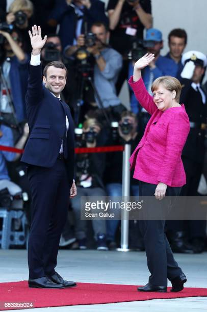 German Chancellor Angela Merkel meets newly-elected French President Emmanuel Macron at the Chancellery on May 15, 2017 in Berlin, Germany. Macron is...